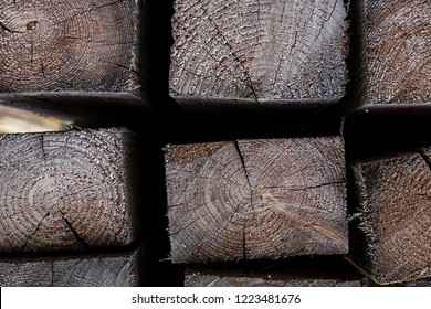 timber wooden rectangle end of the board close-up set of building materials base design
