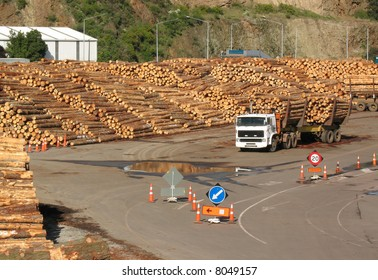 A timber yard and truck loaded with logs