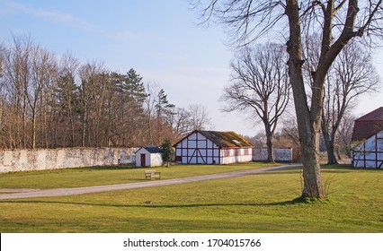 Timbered house which is a part of  classic old estate and farm in Denmark from the 18th century