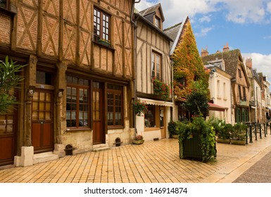 timbered houses in old town of  Amboise, Pays-de-la-Loire,France