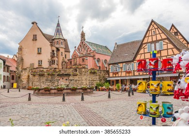 Timbered houses in the village of Eguisheim in Alsace, France. July 22 2015