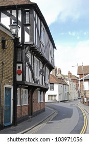 Timbered Tudor house in Sandwich, Kent, UK
