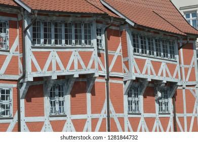 timbering building in Wismar, mecklenburg western pomerania, germany, april-30-2017