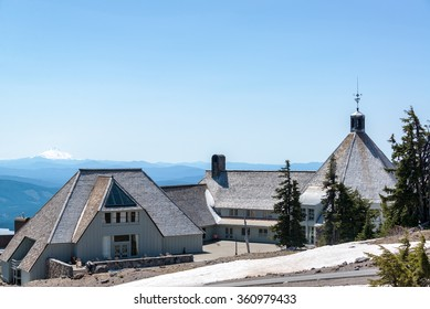 TIMBERLINE LODGE - MAY 8: View of Timberline Lodge in Oregon with Mt. Jefferson in the background on May 8, 2015