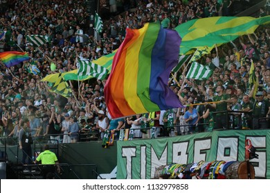 The Timbers Army at Providence Park in Portland Oregon USA July 7,2018.