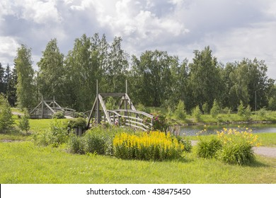 Timber-work bridge in Finnish countryside.