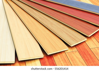 Timberwork, lumber work, woodwork industry, home renovation and house restoration concept: 3D render of the set of color wooden laminated construction planks on new brown polished wood parquet floor