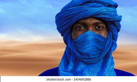TIMBUKTU, MALI, 02-SEPTEMBER-2011. Tuareg posing for a portrait in camp near Timbuktu