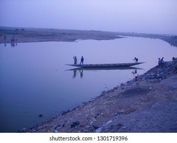 Timbuktu, Mali, Africa - February 3, 2008: Man fishing at the Niger river.