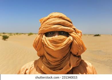 TIMBUKTU, MALI, AFRICA - SEPTEMBER, 2, 2014 Tuareg in the desert near Timbuktu