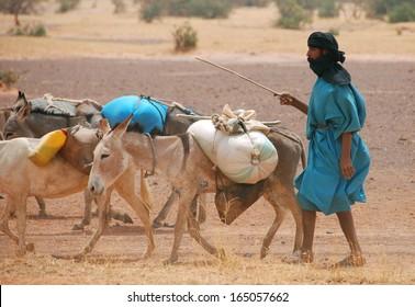 TIMBUKTU, MALI - MARCH 27: An unidentified Tuareg with caravan of salt on March 27, 2009 in Timbuktu, Mali.