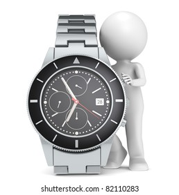 Time. 3D little human character with a Chronograph Watch