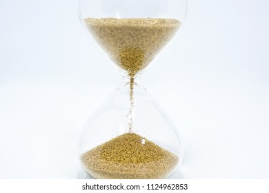 Time abstraction. Hourglass isolated on white background