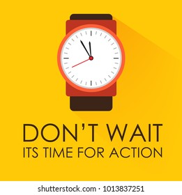 Time for Action. Dont Wait or Miss Chance Concept. Stopwatch clock ticking on dark yellow background. Modern flat design. Negative space on bottom can be used to extra wording.