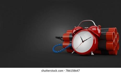 Time bomb on gray background. 3d illustration