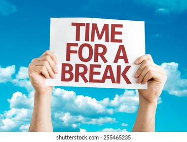 Time for a Break card with sky background