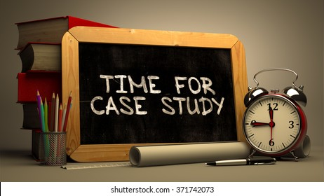 Time for Case Study Handwritten by white Chalk on a Blackboard. Composition with Small Chalkboard and Stack of Books, Alarm Clock and Rolls of Paper on Blurred Background. Toned Image. 3d Render.
