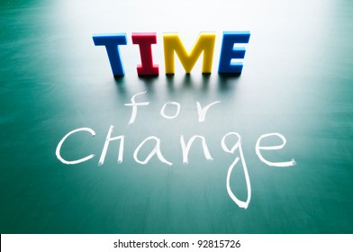 Time for change, colorful words on blackboard.