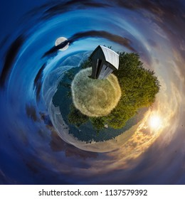 time change concept over the woodshed on little planet spherical panorama. beautiful countryside concept with 360 degree view. abandoned building on a meadow among the forest in summer mountains