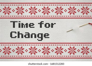 Time for change embroiled on material with red color