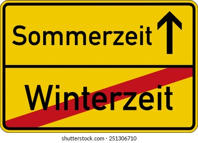 Time change. The German words for wintertime and summertime (Winterzeit and Sommerzeit) on a road sign