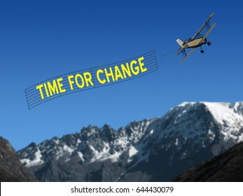 Time for Change inspirational quiote on banner with plane