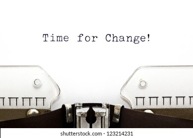 Time for Change printed on an old typewriter
