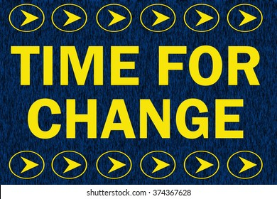 Time for change word on dark blue background