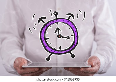 Time concept above a tablet held by a man in background