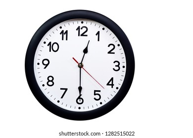 Time concept with black clock at  half past noon