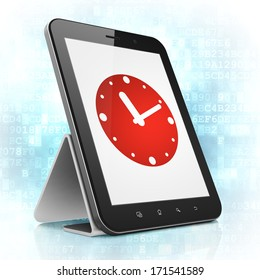 Time concept: black tablet pc computer with Clock icon on display. Modern portable touch pad on Blue Digital background, 3d render