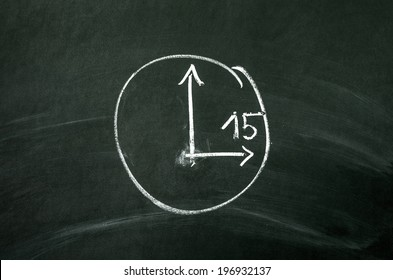 Time concept. The clock drawed on blackboard