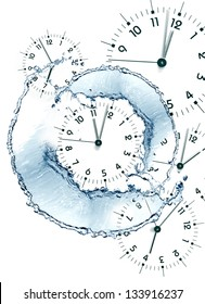 Time concept. Clock faces and abstract flowing water on white background