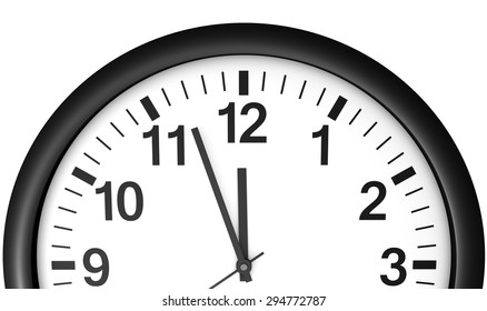 Time concept with a close-up face view of a black and white wall clock with clean design showing almost midnight hour.