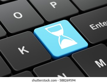Time concept: computer keyboard with Hourglass icon on enter button background, 3D rendering