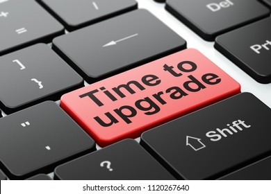 Time concept: computer keyboard with word Time To Upgrade, selected focus on enter button background, 3D rendering