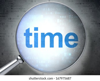 Time concept: magnifying optical glass with words Time on digital background, 3d render