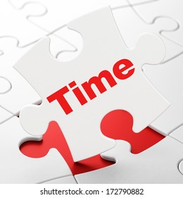 Time concept: Time on White puzzle pieces background, 3d render