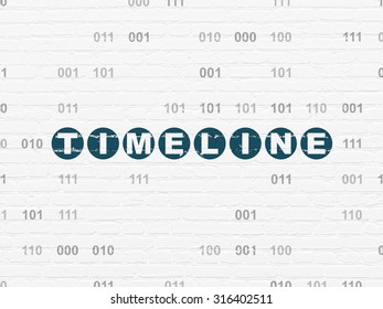 Time concept: Painted blue text Timeline on White Brick wall background with Binary Code