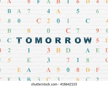 Time concept: Painted blue text Tomorrow on White Brick wall background with Hexadecimal Code