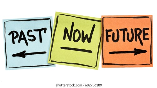 time concept - past, now, future - handwriting in black ink on isolated sticky notes