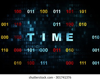 Time concept: Pixelated blue text Time on Digital wall background with Binary Code, 3d render