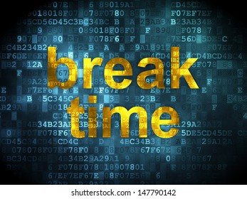 Time concept: pixelated words Break Time on digital background, 3d render