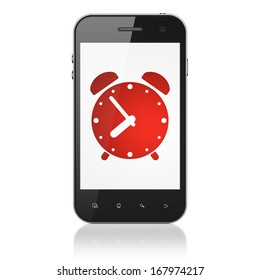 Time concept: smartphone with Alarm Clock icon on display. Mobile smart phone on White background, cell phone 3d render