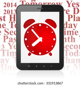 Time concept: Tablet Computer with  red Alarm Clock icon on display,  Tag Cloud background