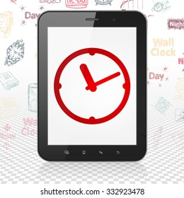 Time concept: Tablet Computer with  red Clock icon on display,  Hand Drawing Time Icons background
