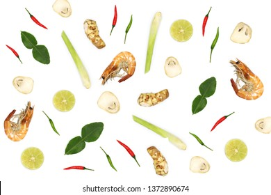 Time to cooking. Thai spicy soup (tom yum kung) prawn, chilli, mushroom, ginger, lemon grass, lime, Kaffir lime leaves on white background