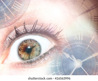 Time/ Deadlines/Stress/Aging. Multiple photos of clocks & eyes are combined to create this conceptual photograph