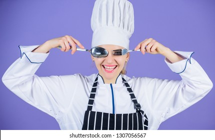 Time to eat. Appetite and taste. Traditional culinary. Professional cook of culinary school. Culinary arts academy. Culinary school concept. Woman professional chef hold utensil spoon fork having fun.