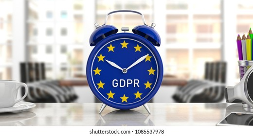 Time for EU General Data Protection Regulation. GDPR and European Union flag on an alarm clock on blur office background. 3d illustration